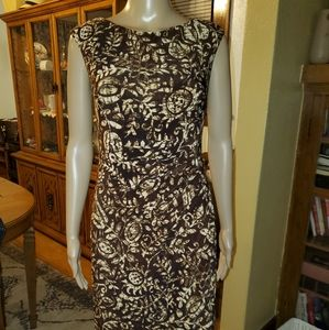 Ralph Lauren size 2 dress brown & cream.